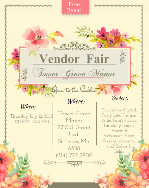 Tower Grove Manor Vendor Flyer next week